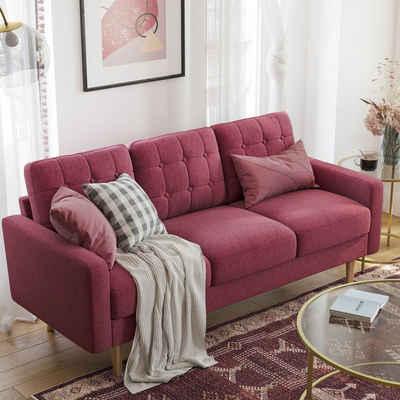 VASAGLE 3-Sitzer »LCS101G01 LCS101M01 LCS101R01«, Couch fürs Wohnzimmer, Polyester, rot