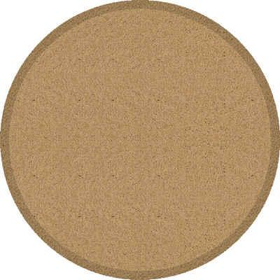 Fußmatte »Fußmatte rund uni beige Sauberlaufmatte Schmutzfangmatte Türvorleger Eingangsmatte«, Akzente, rund, Höhe 0 mm, waschbar bei 30°