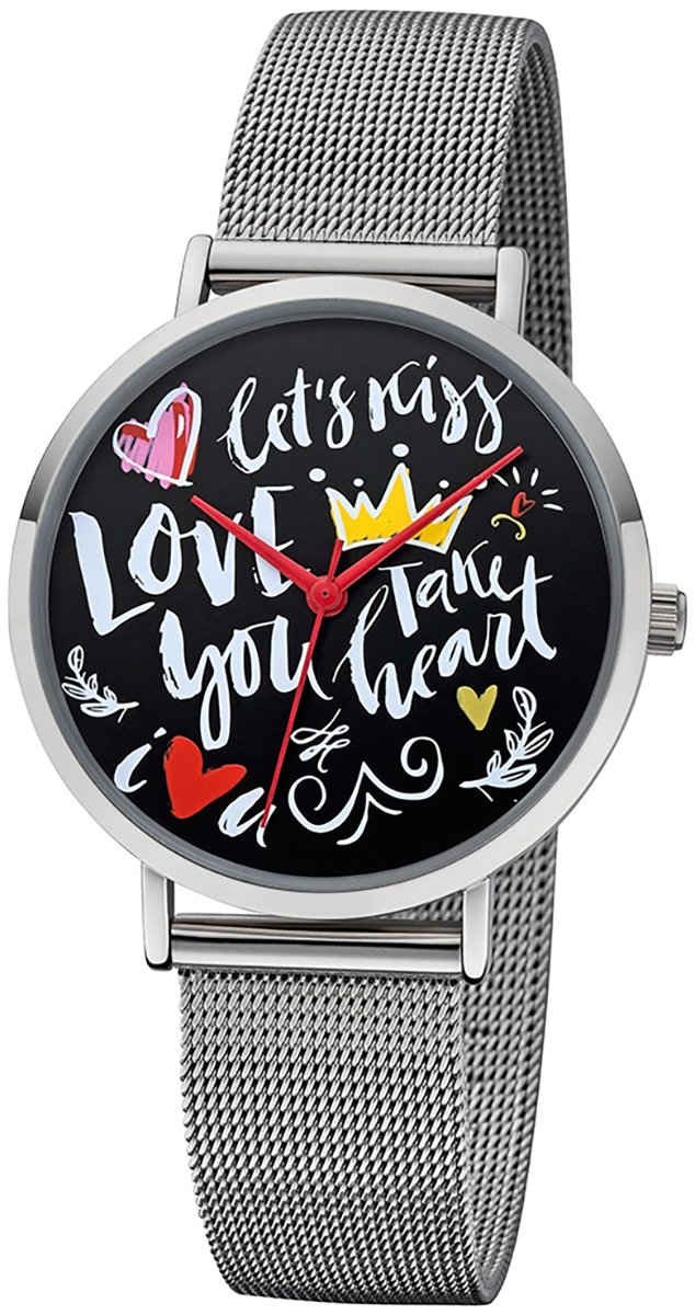 Regent Quarzuhr »URBA516 Regent Damen Uhr Scribble Look BA-516«, (Analoguhr), Damen Armbanduhr rund, Metallarmband silber