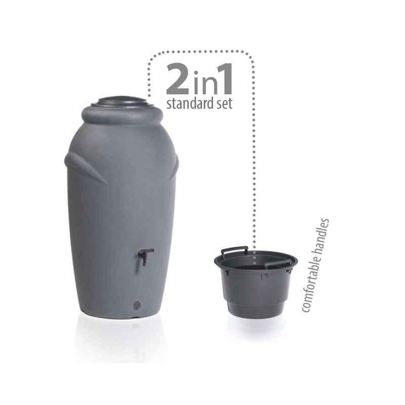 Prosperplast Regentonne »Regentonne anthrazit 210 Liter inkl.Wasserhahn Set«, 210 l