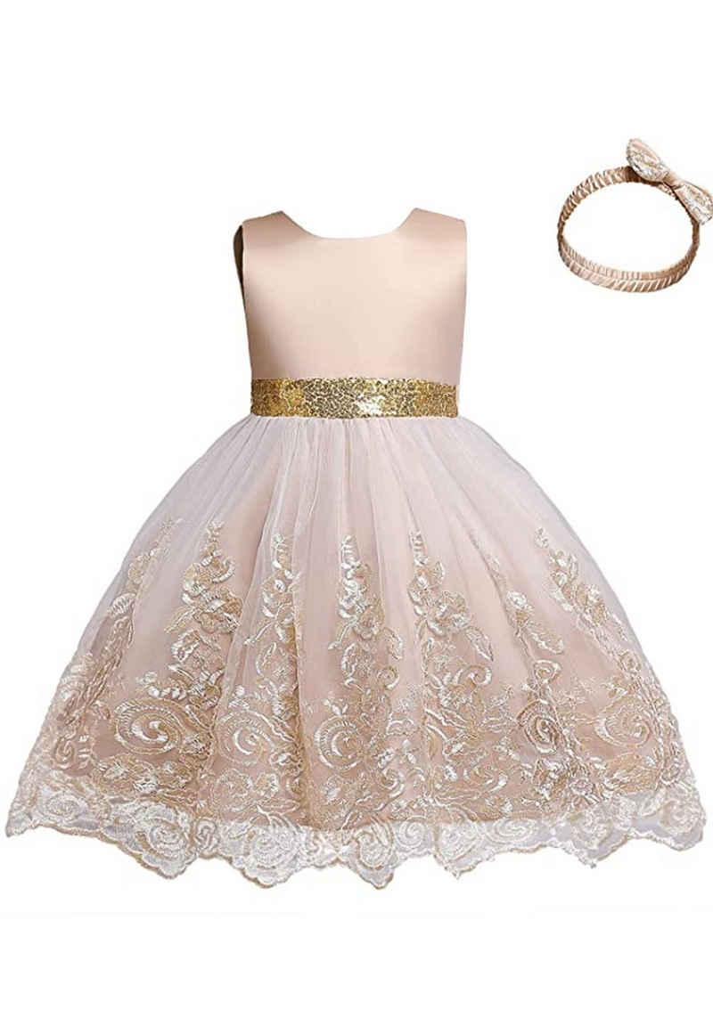 TOPMELON Abendkleid »Partykleid« (Set) Kleid & Haarband, Prinzessin Kleid, Mit Spitzenstickerei