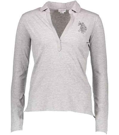 U.S. Polo Assn Poloshirt »U.S. POLO ASSN. Langarm Shirt modisches Damen Polo-Hemd Freizeit-Shirt Grau«