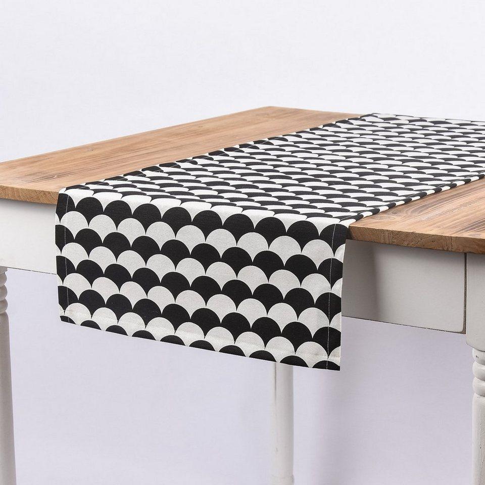SCHÖNER LEBEN Tischläufer Kreise schwarz weiß 40x160cm