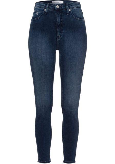 Hosen - Calvin Klein Jeans Skinny fit Jeans »HIGH RISE SUPER SKINNY ANKLE« mit Calvin Klein Jeans Logo Schriftzug am Saum › blau  - Onlineshop OTTO