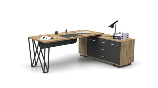 Möbel-Lux Schreibtisch »Window«, Büro Schreibtisch in L-Form Window holz Optik / grau