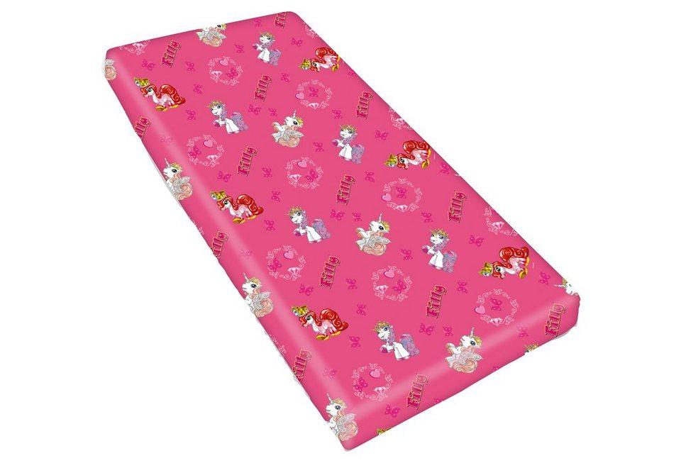 Spannbettlaken, Filly, »Linon«, mit tollen Filly-Motiven in pink