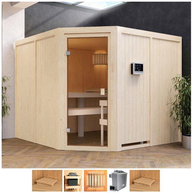 Saunen und Zubehör - Karibu Sauna »Evka«, BxTxH 231 x 231 x 198 cm, 68 mm, 9 kW Ofen mit ext. Steuerung  - Onlineshop OTTO
