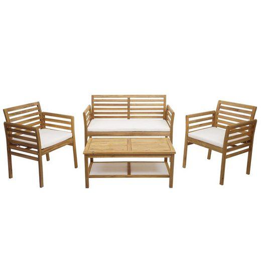 MCW Gartenmöbelset »MCW-E99b«, Garten, Vier Sitzplätze, Maximale Belastbarkeit pro Sitzplatz: 120 kg, Sitzbezug mit Reißverschluss