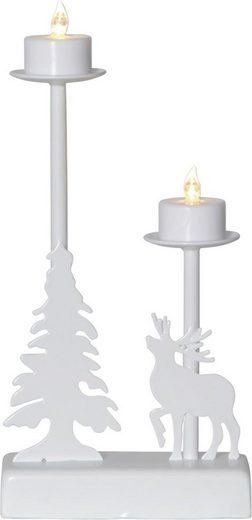 """STAR TRADING Kerzenleuchter »LED-Leuchter """"Walder"""" - 2 flammig - warmweiße LED - L: 13cm, H: 27cm - Timer - Batterie - weiß«"""