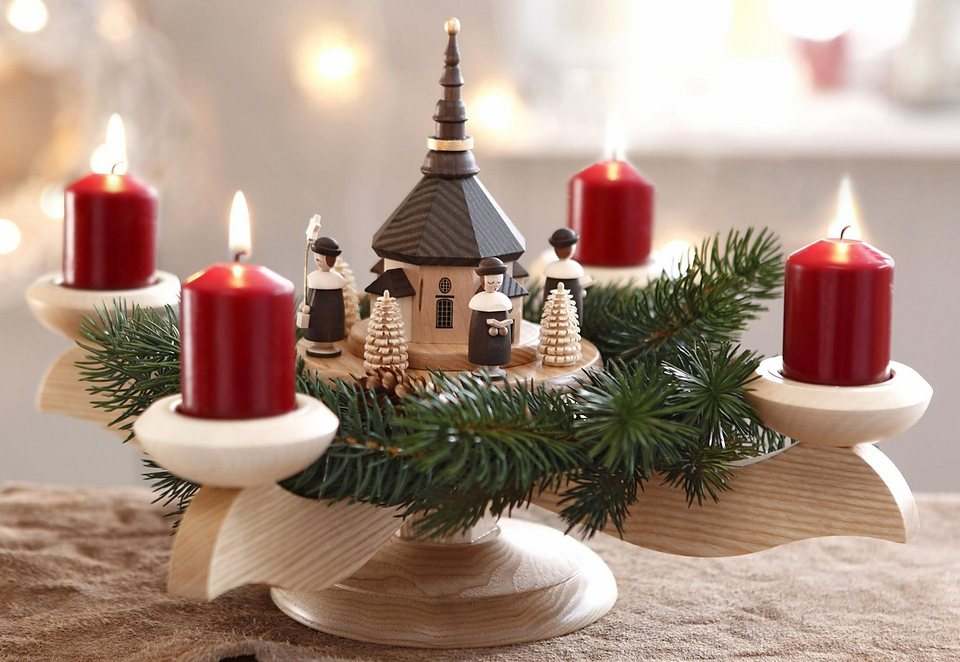 albin preissler adventsleuchter mit seiffener kirche. Black Bedroom Furniture Sets. Home Design Ideas