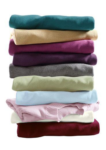 Classic Basics Pullover mit Rippe am Stehkragen