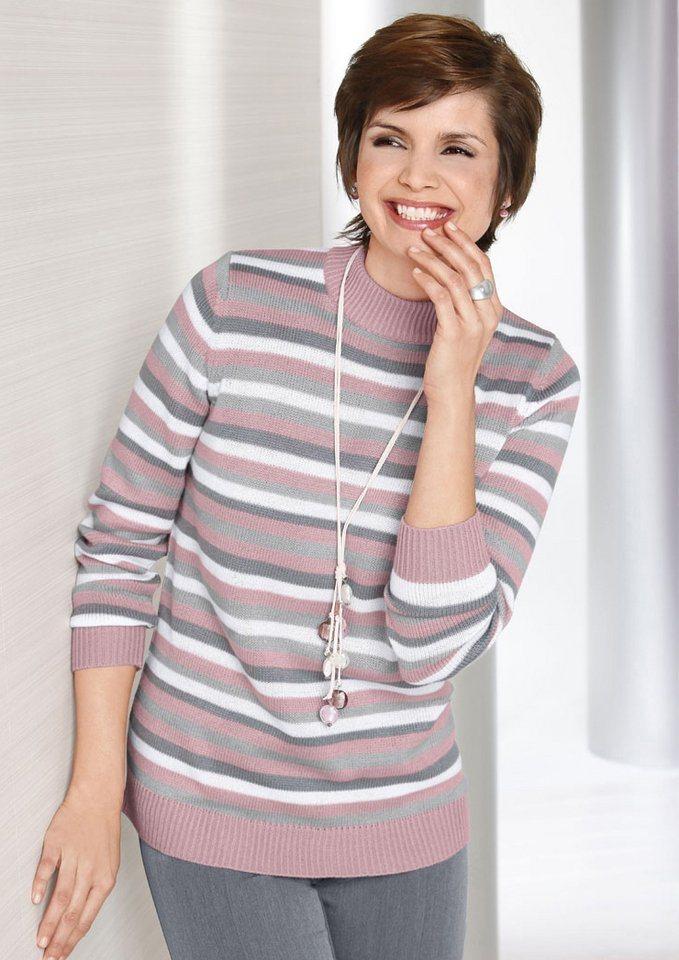 Classic Basics Pullover mit doppelt gearbeitetem Stehkragen in rosé-grau-gestreift