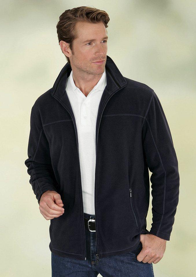 Classic Basics Fleece-Jacke mit flottem Umlegekragen in marine