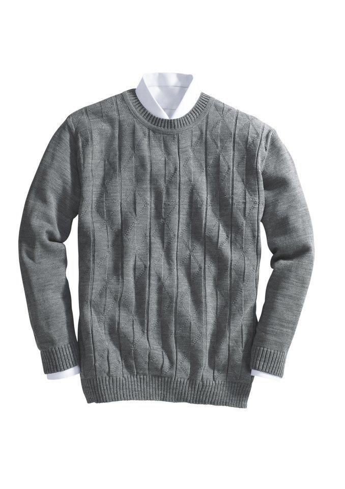 Classic Basics Pullover mit klassischem Rundhals-Ausschnitt in grau-meliert