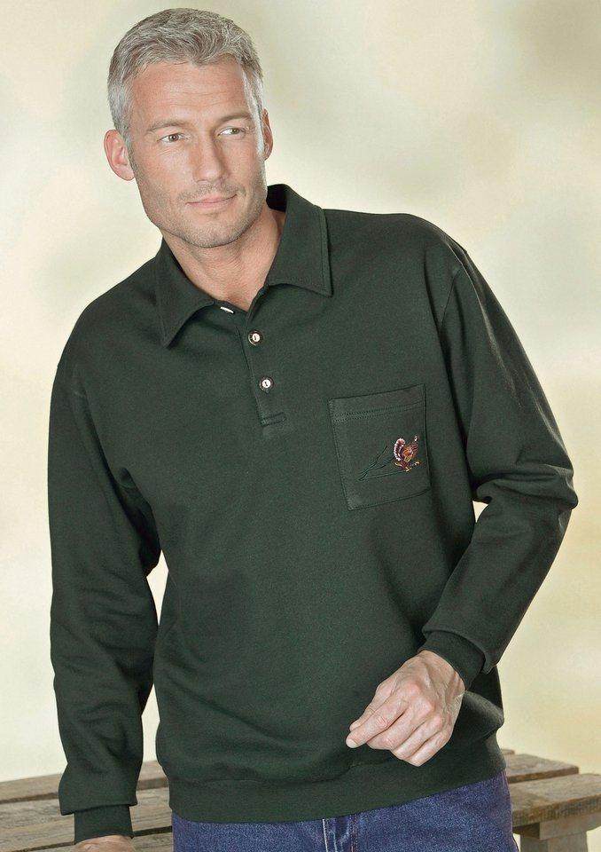 Classic Basics Sweatshirt mit kurzer Knopfleiste in oliv
