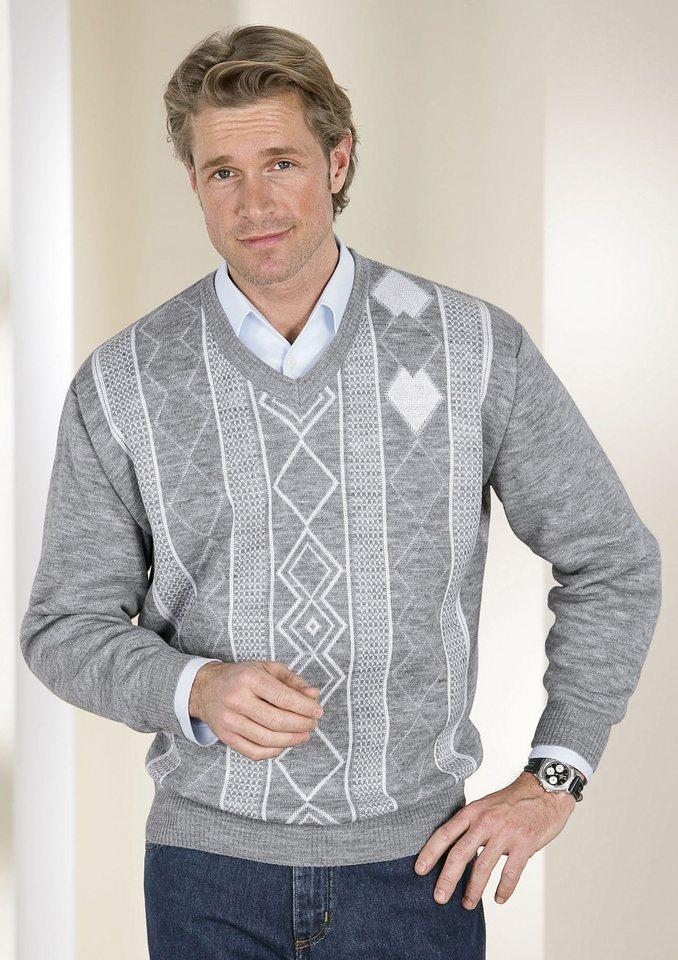 Classic Basics Pullover mit V-Ausschnitt in silbergrau