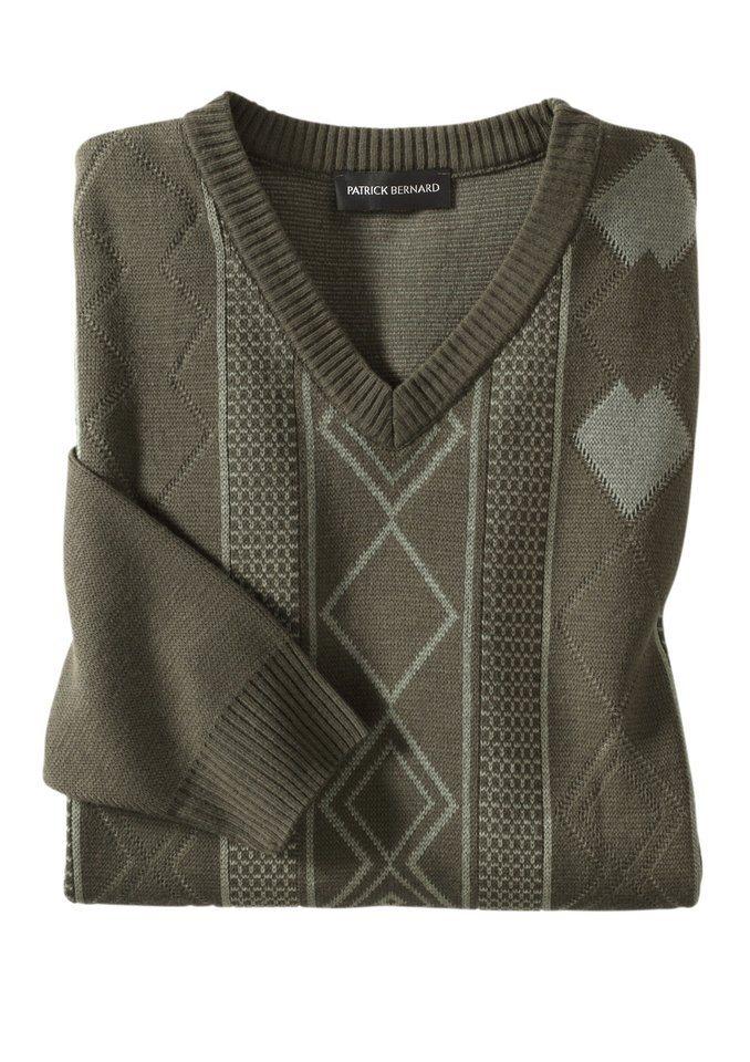 Classic Basics Pullover mit V-Ausschnitt in oliv