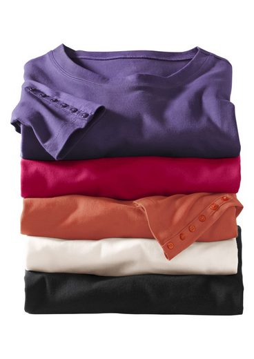 Classic Basics Shirt mit Zierknopfleiste an beiden Ärmeln