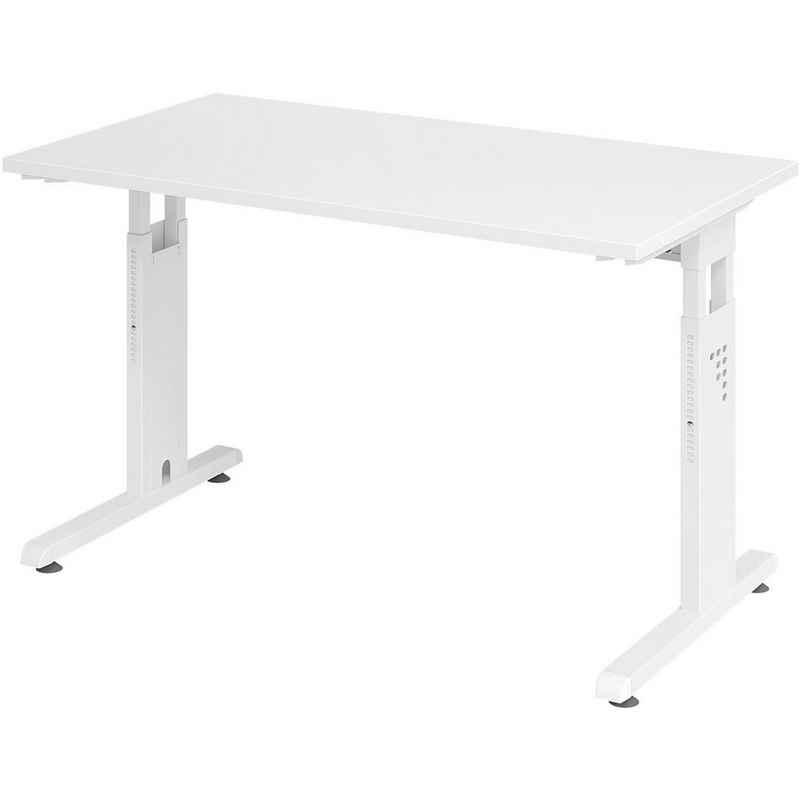 HAMMERBACHER Schreibtisch »Home Office«, höhenverstellbar bis 85 cm, weißes Gestell