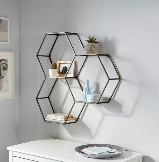 Leonique Wandregal »Lenia«, bestehend aus drei sechseckigen Elementen, in modernem Design