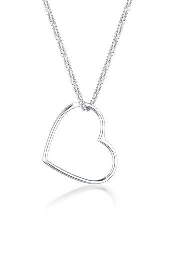Elli Kette mit Anhänger »Herz Anhänger Liebe Cut Out 925 Silber«, Herz