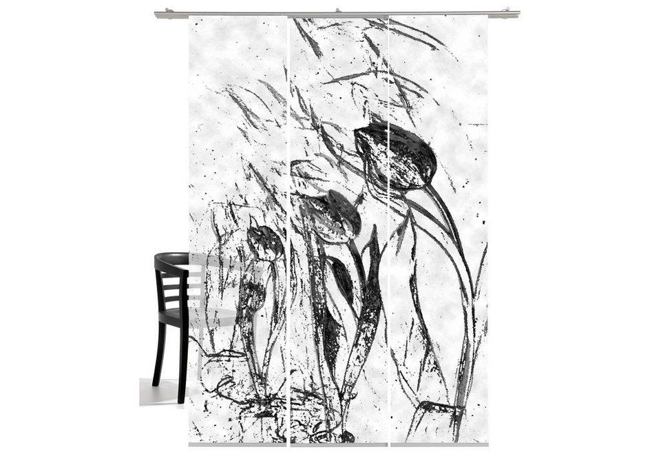 Schiebegardine, Emotiontextiles, »Tulpen im Wind«, mit Klettband (3 Stück mit Zubehör) in anthrazit