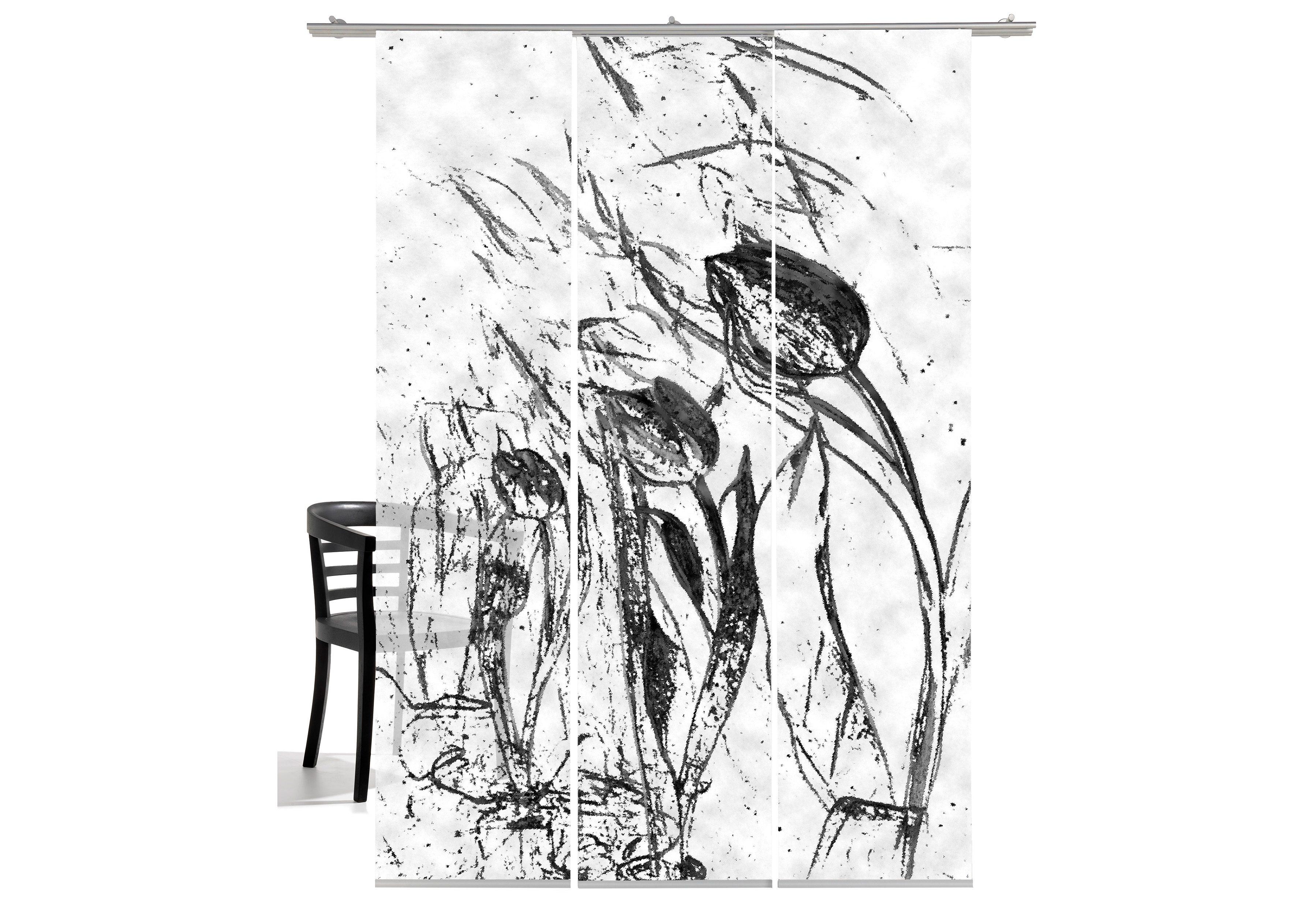 Schiebegardine, Emotiontextiles, »Tulpen im Wind« (3 Stück mit Zubehör)
