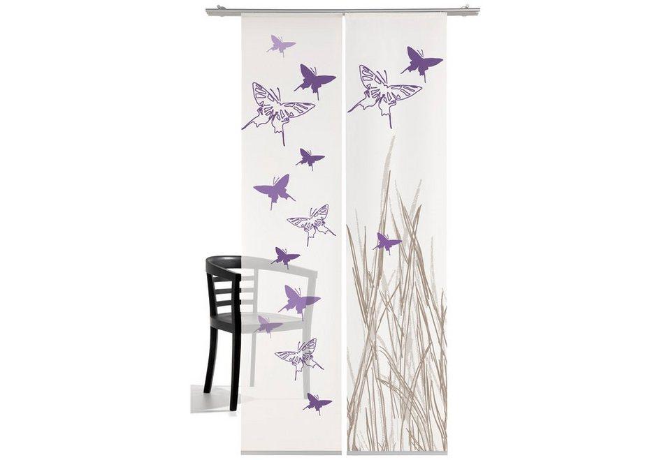 Schiebegardine, Emotiontextiles, »Schmetterling« (2 Stück mit Zubehör) in lila