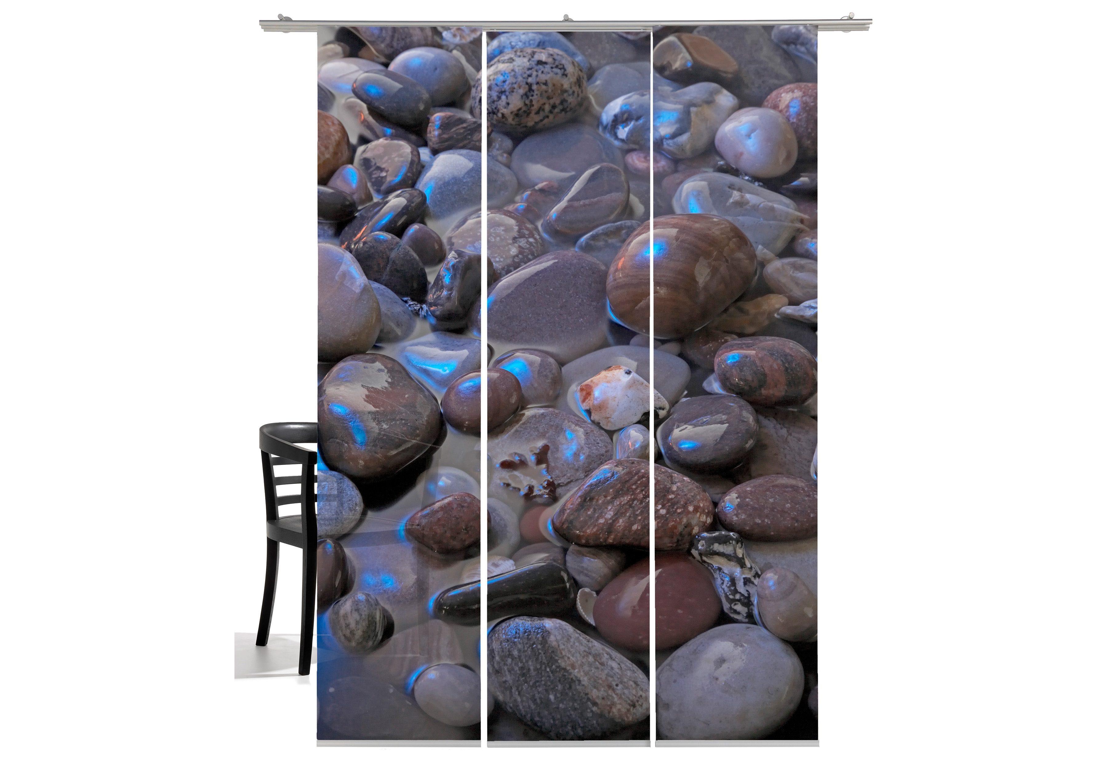 Schiebegardine, Emotiontextiles, »Steine Mondlicht«, mit Klettband (3 Stück mit Zubehör)