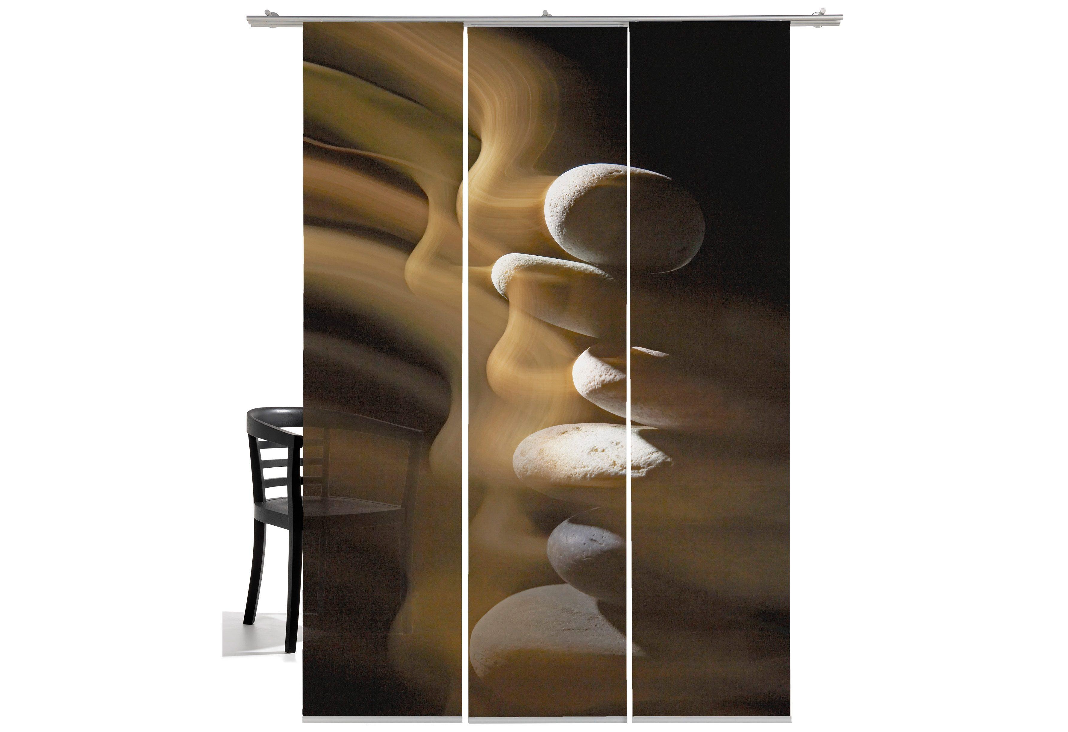 Schiebegardine, Emotiontextiles, »Steinturm«, mit Klettband (3 Stück mit Zubehör)