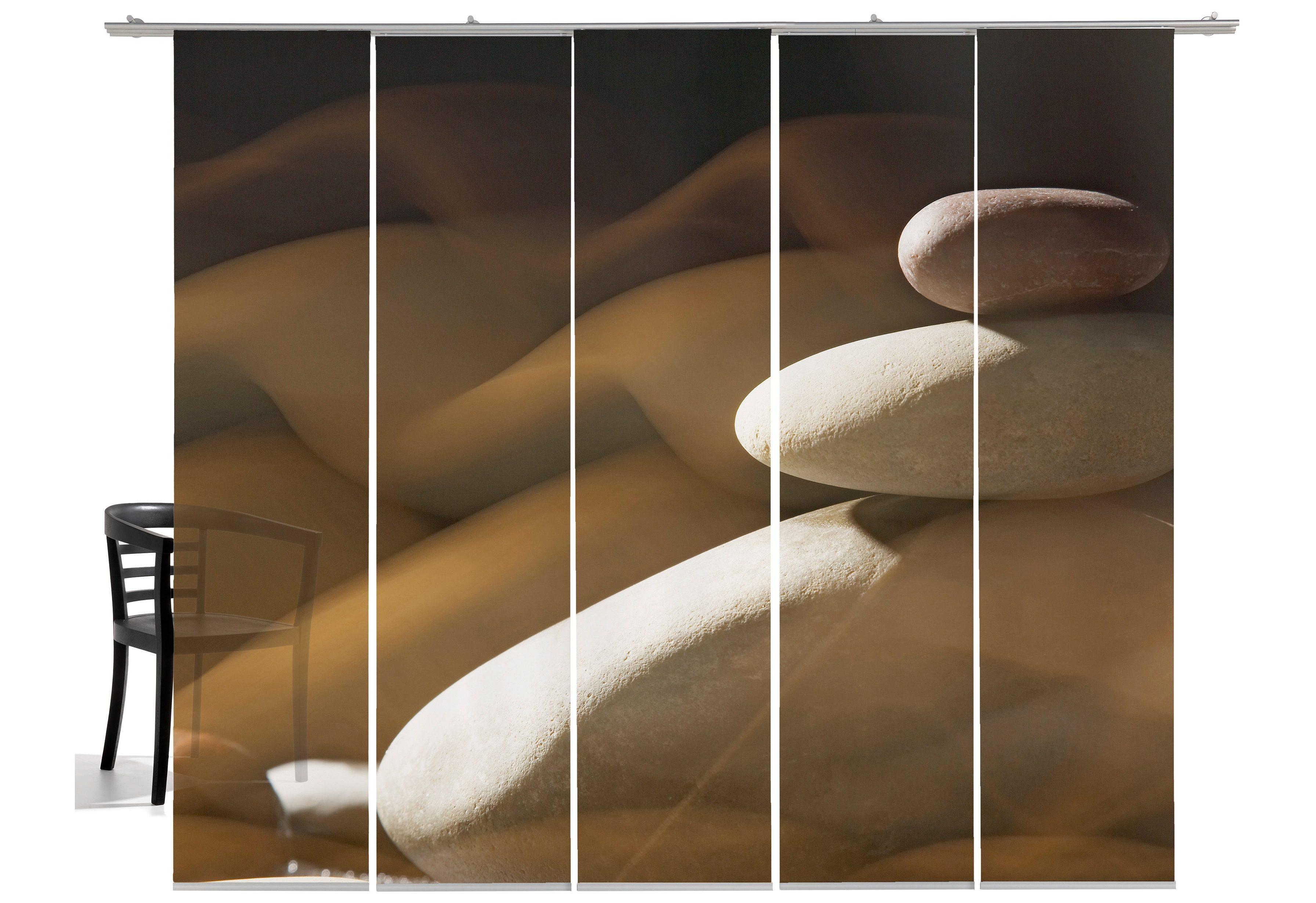 Schiebegardine, Emotiontextiles, »Steinmauer«, mit Klettband (5 Stück mit Zubehör)