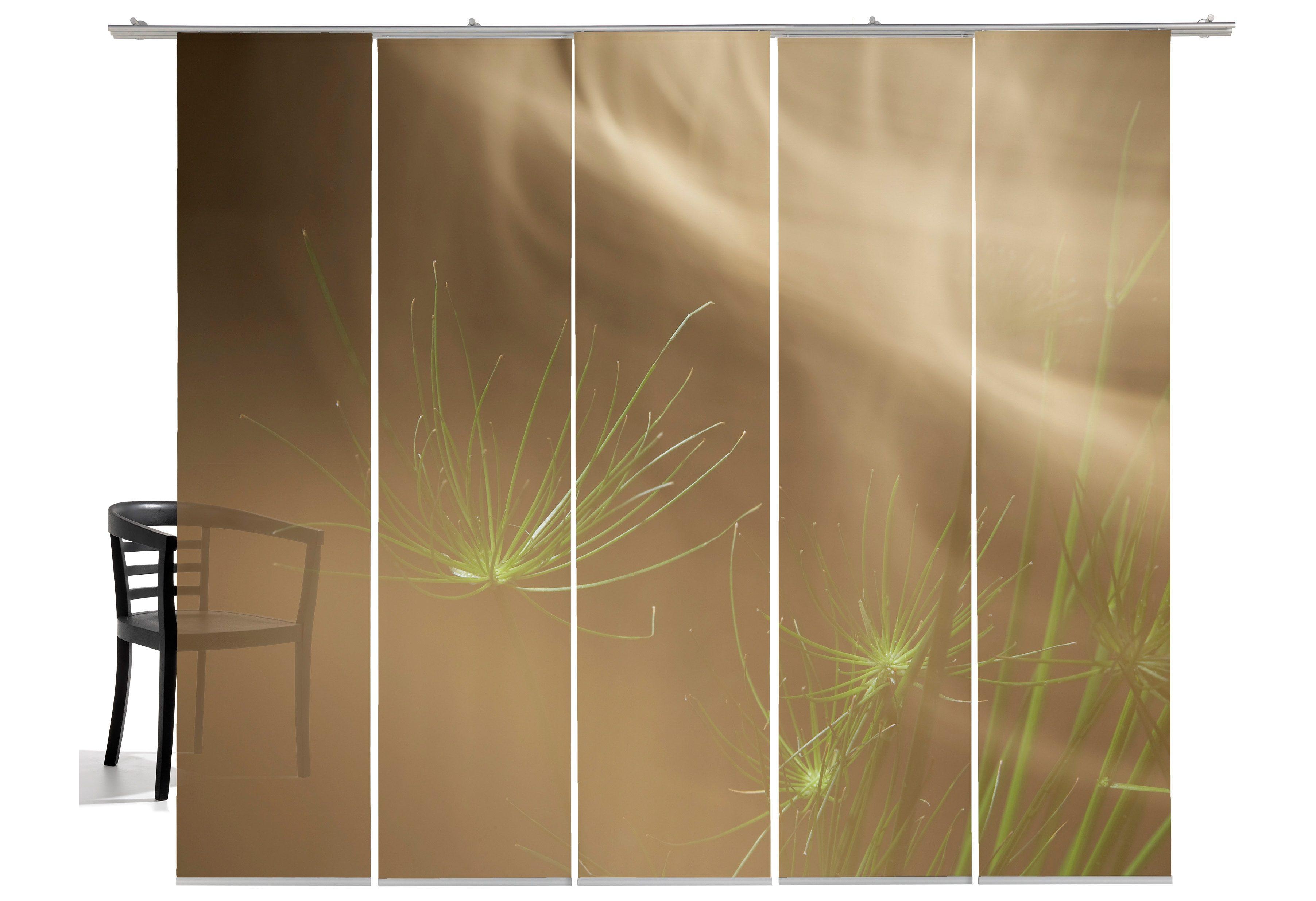 Schiebegardine, Emotiontextiles, »Grasnebel«, mit Klettband (5 Stück mit Zubehör)
