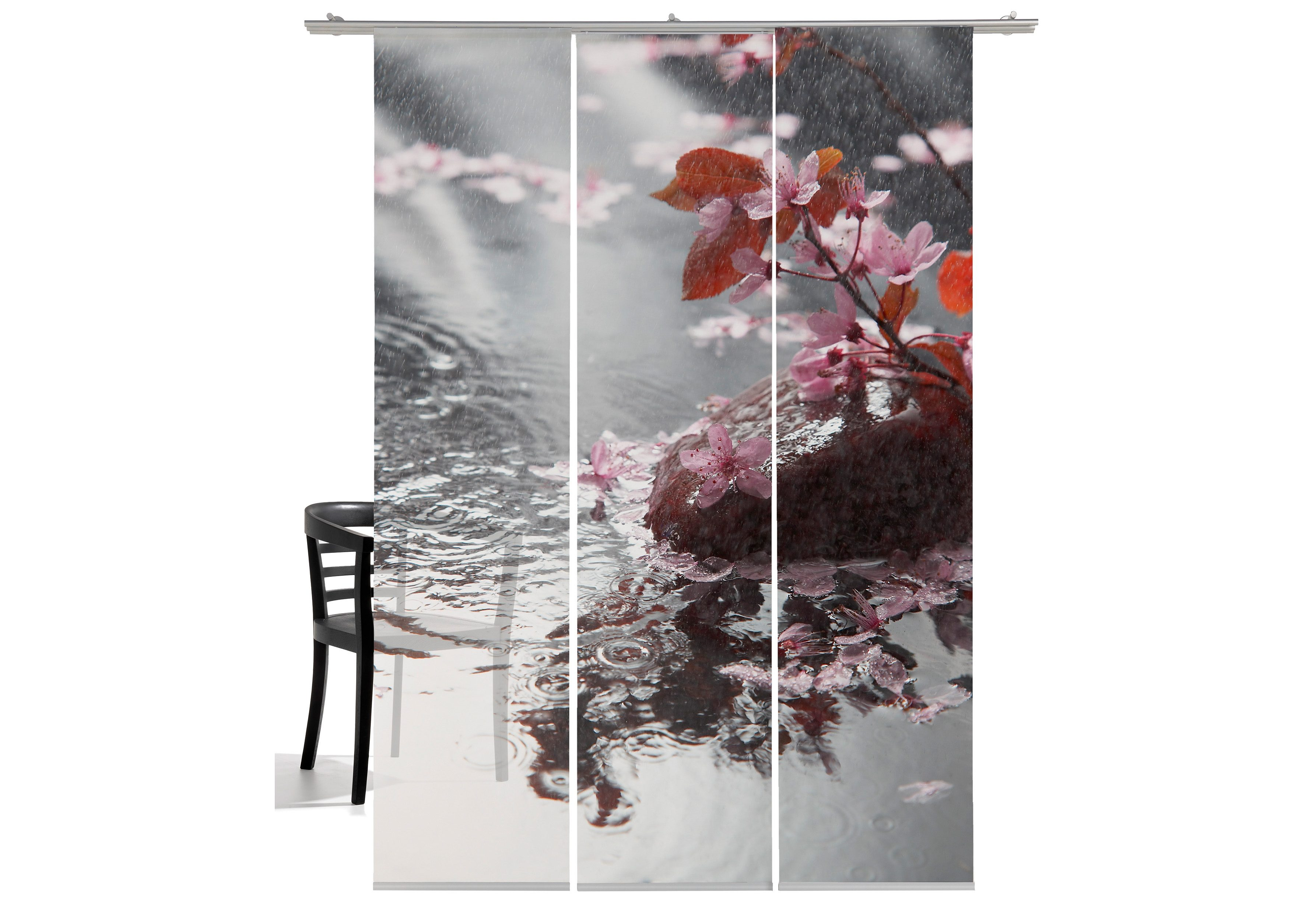 Schiebegardine, Emotiontextiles, »Blütenregen«, mit Klettband (3 Stück mit Zubehör)