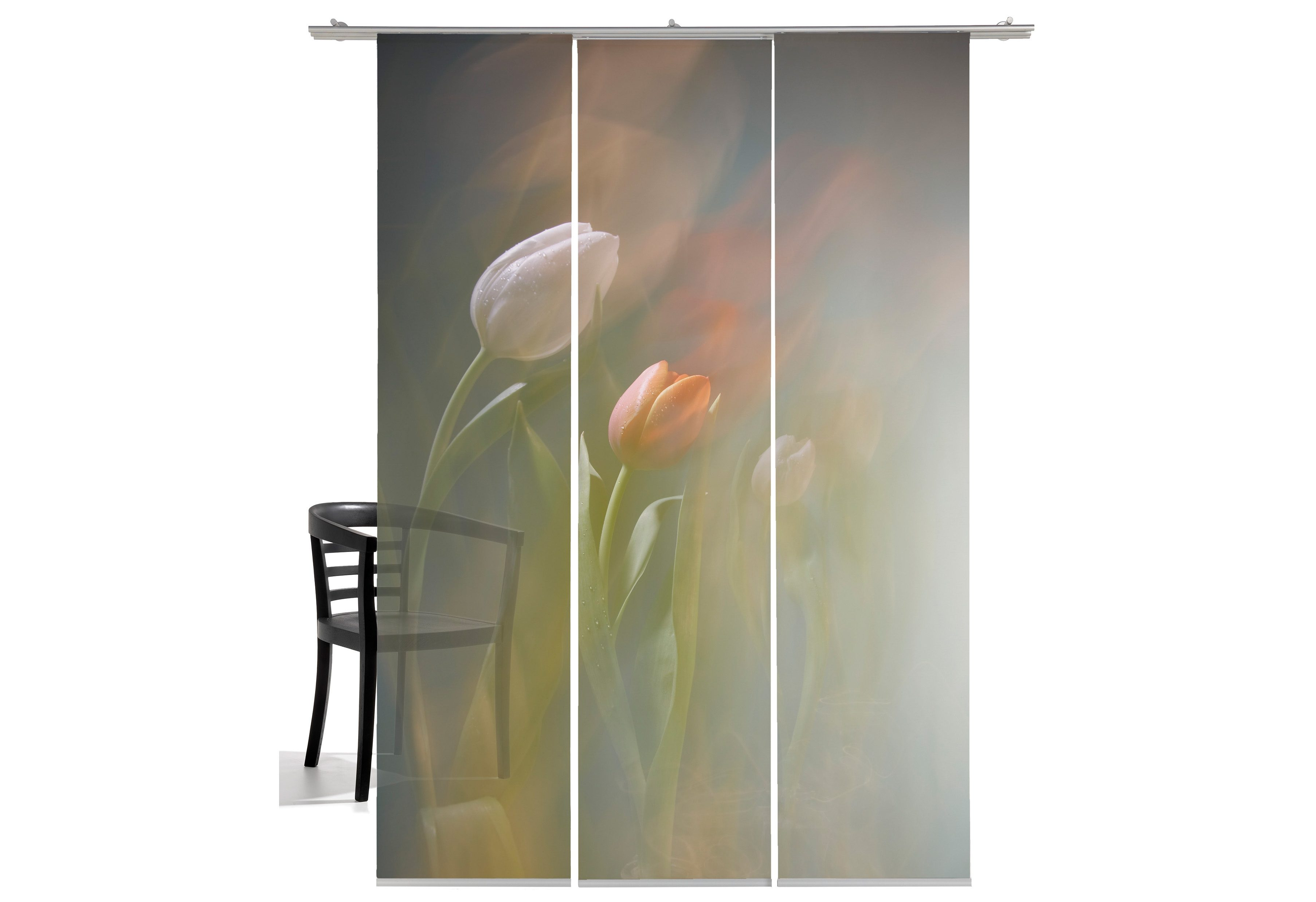 Schiebegardine »Tulpen«, emotion textiles, Klettband (3 Stück), inkl. Beschwerungsstange