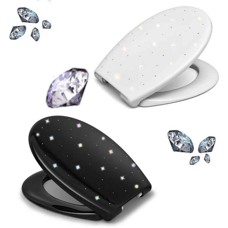 LUVETT WC-Sitz »Diamant« (Inklusive 3 Befestigungsarten), mit Absenkautomatik, Duroplast