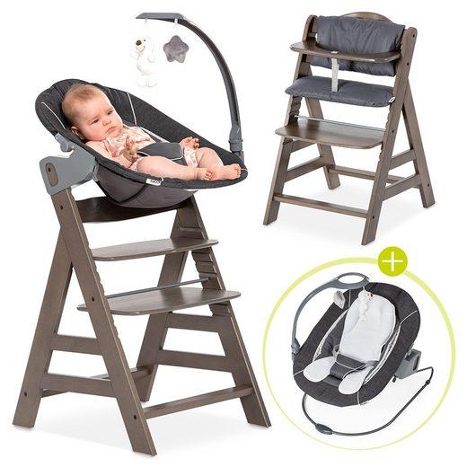 Hauck Hochstuhl »Alpha Plus Charcoal - Newborn Set« Holz Babystuhl ab Geburt mit Liegefunktion - inkl. Aufsatz für Neugeborene, Sitzpolster