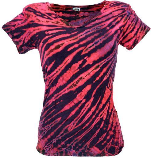 Guru-Shop T-Shirt »Batik Hippie T-Shirt mit V-Auschnitt -..«