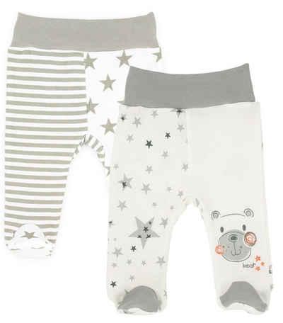 Makoma Schlupfhose »Baby Strampelhose Hose mit Fuß Neutral für Jungen & Mädchen Eule Teddy« (Set, 2er-Pack) 100% Baumwolle
