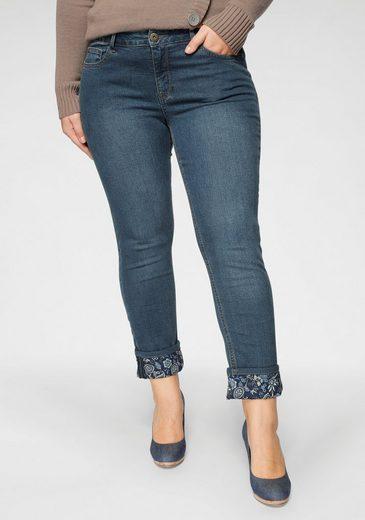 Arizona 7/8-Jeans »Turn - Up mit floralem Print« Mid Waist