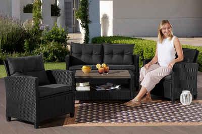 Konifera Gartenmöbelset St Tropez 11 Tlg 2er Sofa 2 Sessel Tisch 90x55 Cm Polyrattan