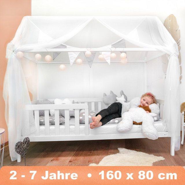 Alcube Kinderbett| Alcube Hausbett 160x80 cm - stabiles Kinderbett mit wechselbarem Rausfallschutz und Lattenrost - weiß lackiert - aus Kiefernholz für Jungen und Mädchen - Geeignet für Vorhänge und Himmeldekoration | Kinderzimmer > Kinderzimmerdekoration | Alcube