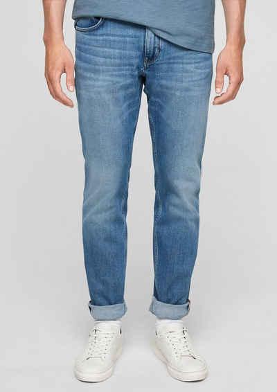 s.Oliver 5-Pocket-Jeans »Regular: Straight leg-Jeans« Waschung, Leder-Patch
