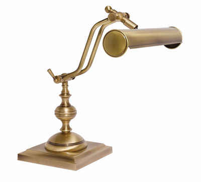 Licht-Erlebnisse Schreibtischlampe »LAMPADE SCRIVANIA«, Verstellbare Tischlampe Messing massiv Bronze H:39cm E14 Handarbeit Schreibtisch