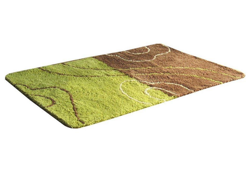 Badematte »Geer«, Höhe ca. 20mm, Mikrofaser, rutschhemmender Rücken, Kinzler in grün-braun