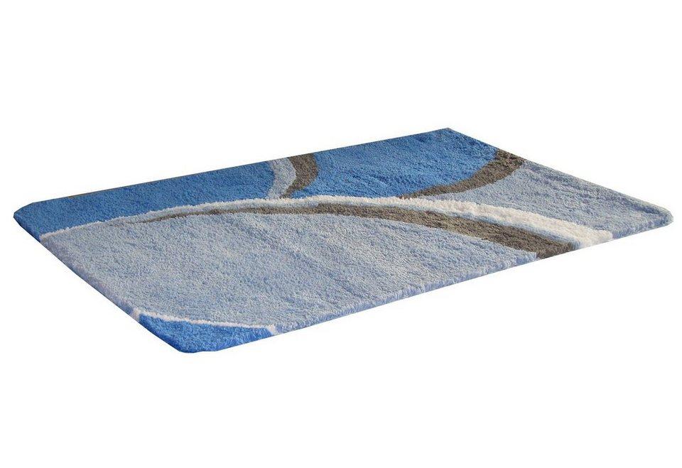 Badematte »Genappe«, Höhe ca. 20mm, Mikrofaser, rutschhemmender Rücken, Kinzler in blau