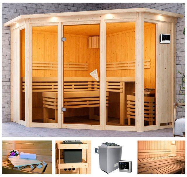 Saunen und Zubehör - KARIBU Sauna »Akiko 2«, 245x245x202 cm, 9 kW Ofen mit ext. Steuerung, Dachkranz  - Onlineshop OTTO