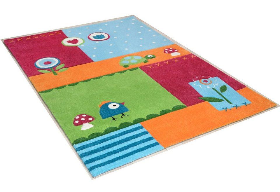 Kinder-Teppich »Leben im Garten«, handgearbeitet, Theko in multi