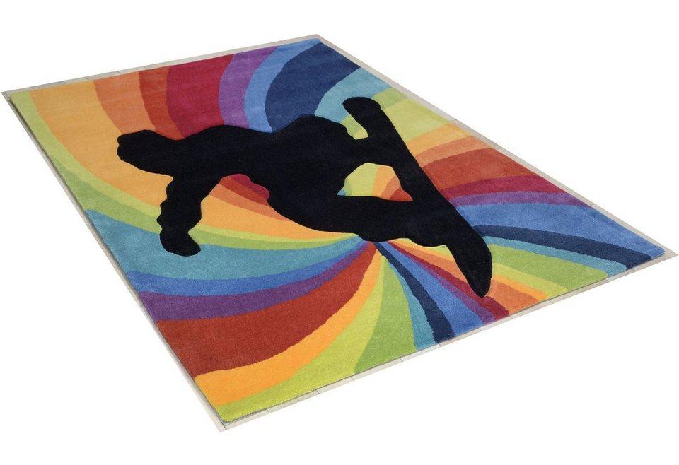teppich snowboarder theko rechteckig h he 14 mm hochwertiges acrylgarn handgearbeiteter. Black Bedroom Furniture Sets. Home Design Ideas