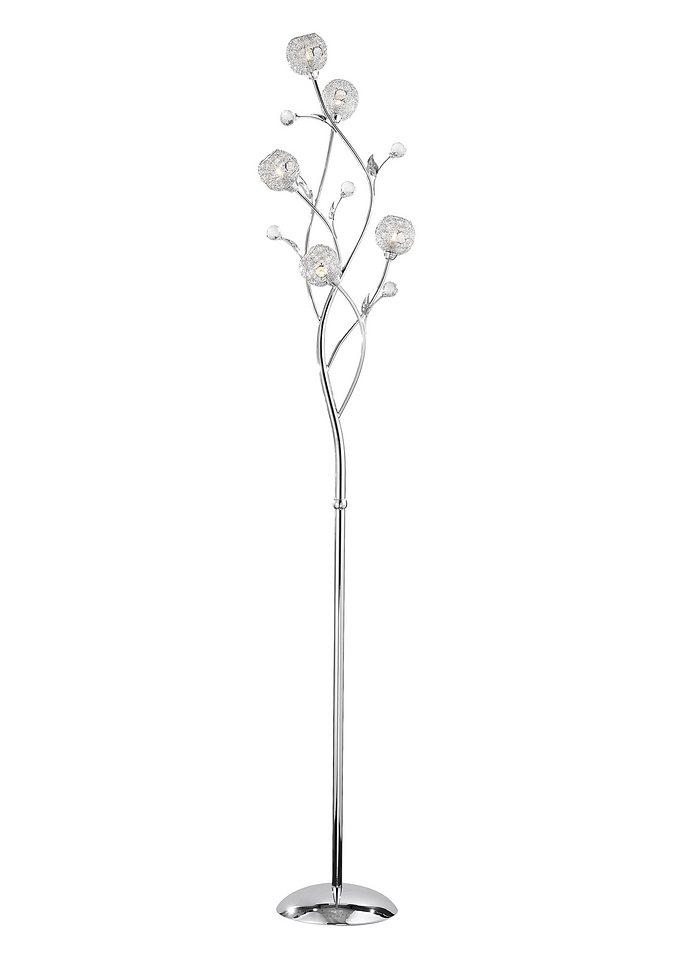 Halogen-Stehlampe, Paul Neuhaus, »PORTIA« (5flg.) in silberfarben