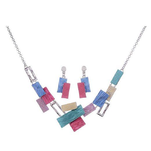 Mein Style Collier-Set »Collier mit Ohrringen Rechtecke COM006«, verstellbare Gesamtlänge